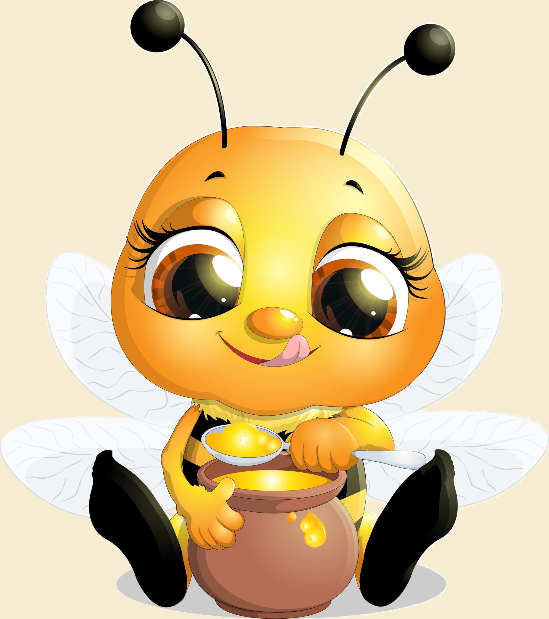 Biene mit Honigtopf